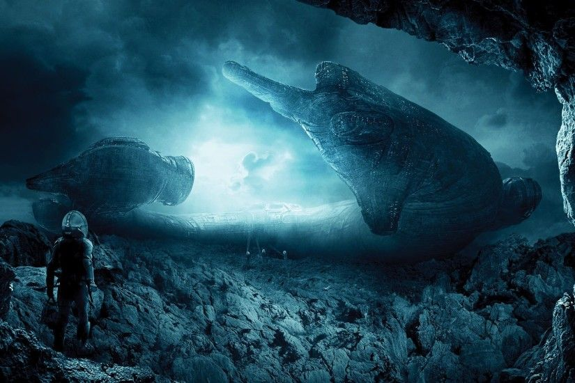 landscape, Digital Art, Prometheus (movie), Spaceship, Aliens Wallpapers HD  / Desktop and Mobile Backgrounds
