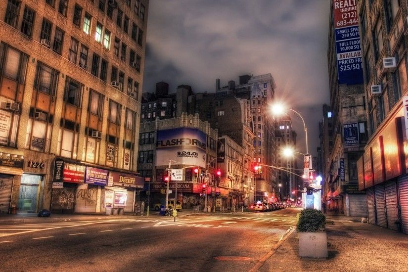1920x1080 Wallpaper new york, night, street, building, hdr