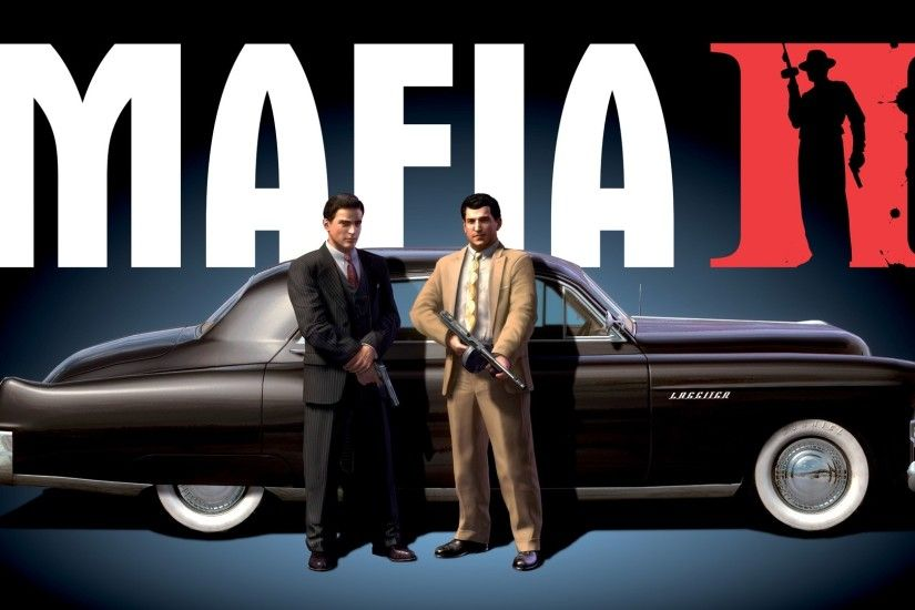 Preview wallpaper mafia 2, car, gun, suits 3840x2160