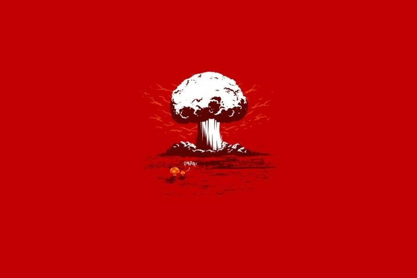 Funny Minimalistic Nuclear Explosions Red Background Shrooms Typography