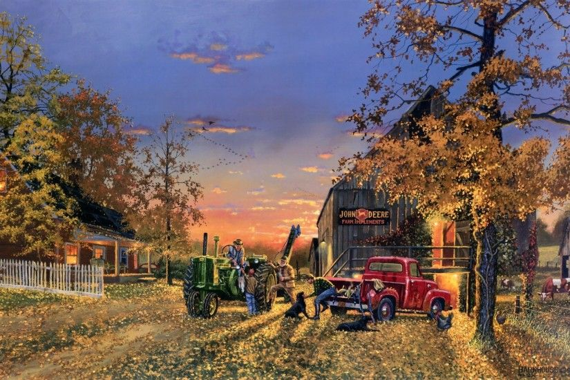 dave barnhouse a time of plenty painting autumn yellow leaves leaf john  deere logo trademark machinery