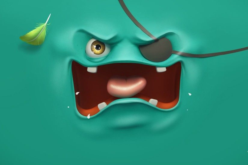 Blue Monster Funny Face HD Wallpaper