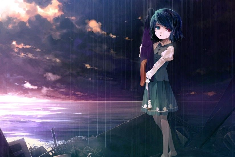 Preview wallpaper girl, sad, sky, sea, debris, sunset 1920x1080