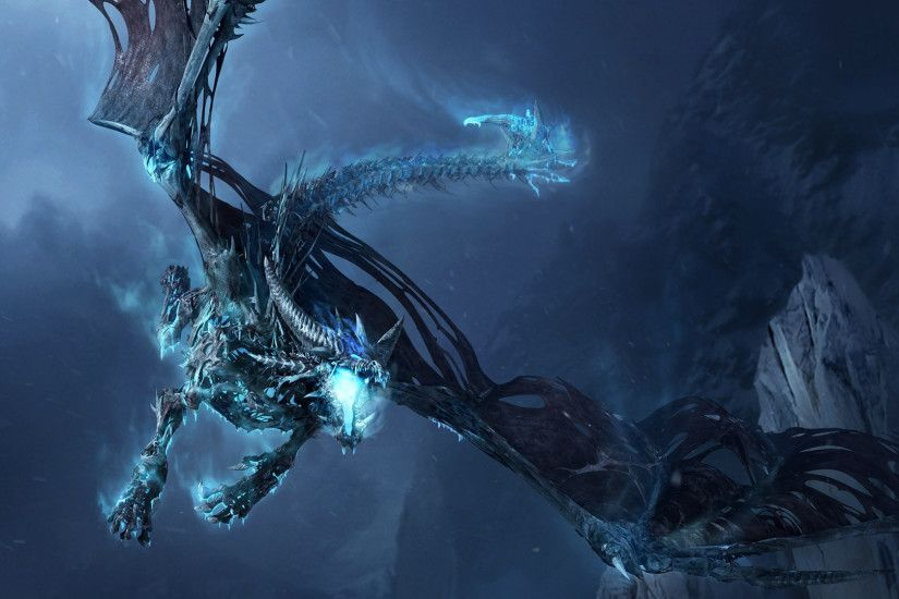 Preview wallpaper world of warcraft, dragon, cold, mountain 3840x2160