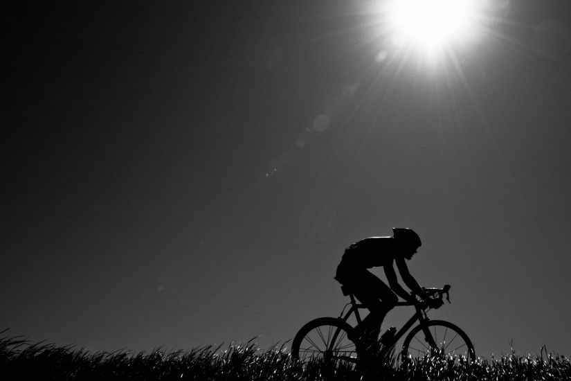 night athlete cyclist road bike nature mood