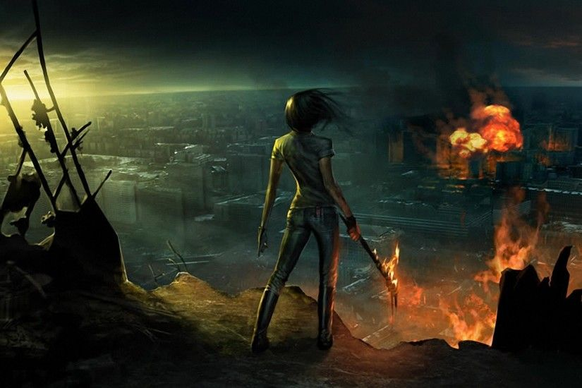 Armageddon Burning Cityscapes Cliffs Destruction Fire Post-apocalyptic  Sunset Warriors Women Wreckage
