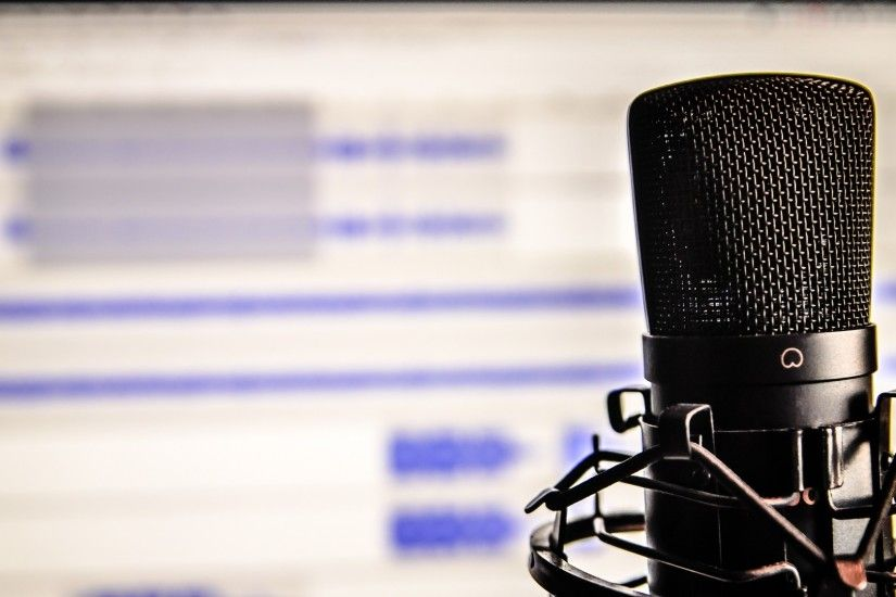 Preview wallpaper microphone, studio, recording 1920x1080