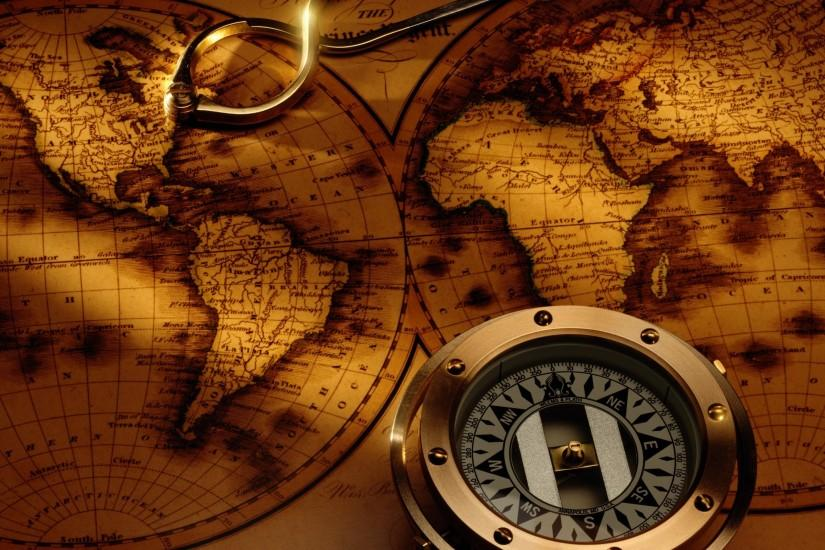 Compasses world map PPT Backgrounds ...