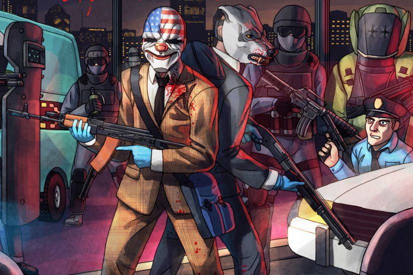 Preview wallpaper payday 2, dallas, wolf, art, hotline miami 1920x1080