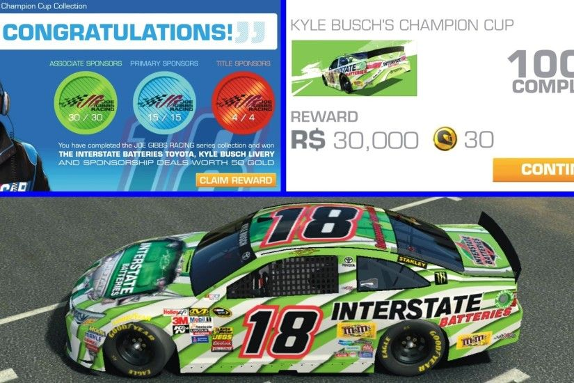 Real Racing 3 NASCAR - 100% of Kyle Busch's Champion Cup Complete - YouTube