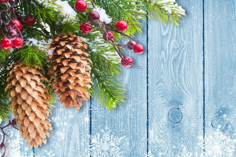 winter snow merry christmas tree cones and snowflake on wooden background  high resolution wallpaper hd 2016