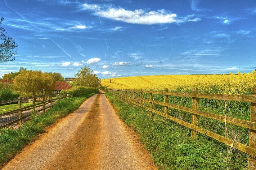 Farms - Lovely Country Road Farms Fields Sky Fences Dual Wallpaper for HD  16:9