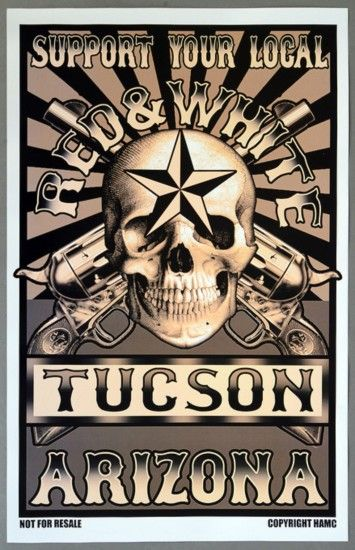 Hells Angels Tucson - Support Your Local Red & White Tucson Arizona Poster,  Buy Now