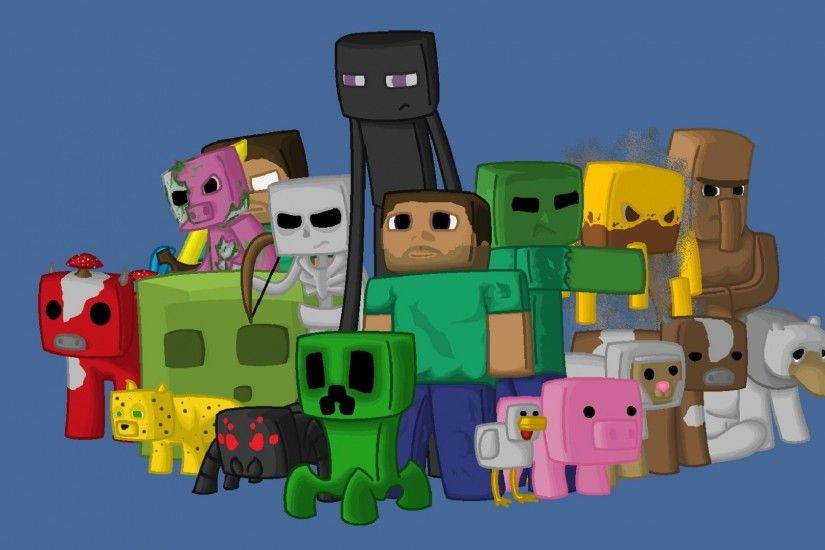 Preview wallpaper minecraft, characters, game, pixels, java 1920x1080
