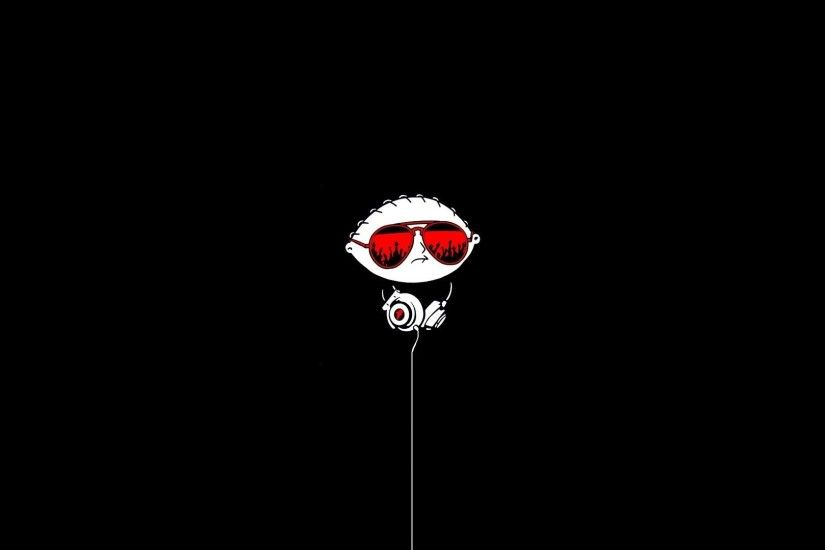Black Children Dark DJ Family Guy Funny Glasses Minimalistic Stewie Griffin