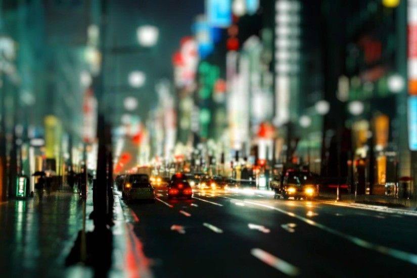cityscapes,streets cityscapes streets rain cars urban buildings bokeh city  lights tiltshift depth of field nighttime u – Fields Wallpaper – Desktop ...