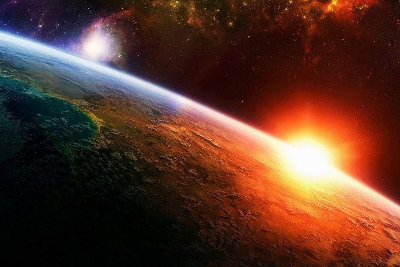 ... end of the world, planet, red, space · Open wallpaper