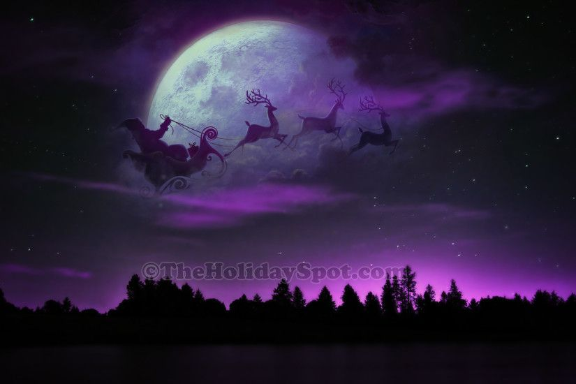 HD Wallpaper - Santa, Sleigh and Reindeer at Christmas Night