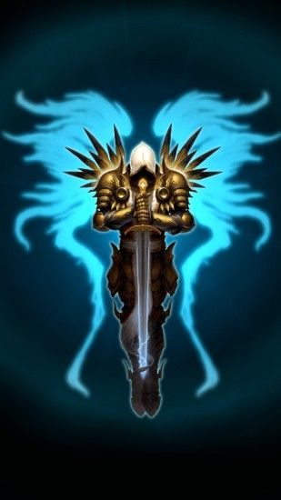 1440x2560 Wallpaper diablo 3, tyrael, wings, sword, game