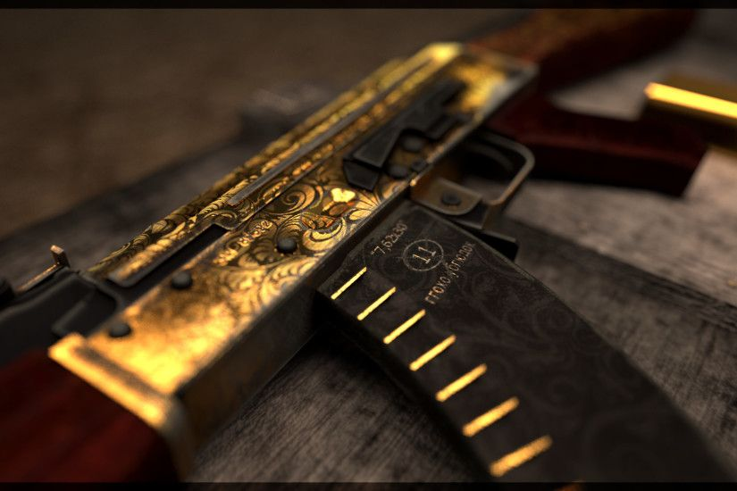 Gold AK47 Wallpaper - WallpaperSafari Gold AK 47 Wallpapers -  WallpaperPulse | Images Wallpapers . ...