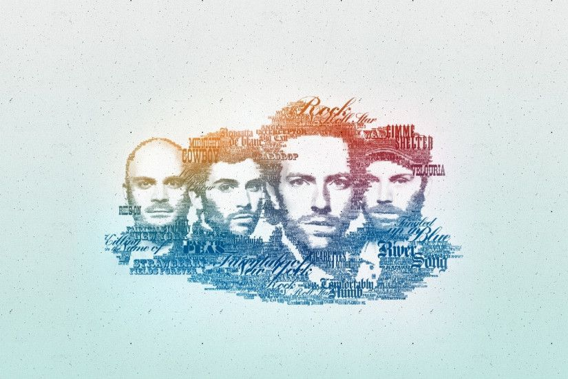 2560x1440 Wallpaper coldplay, faces, graphics, lyrics, look