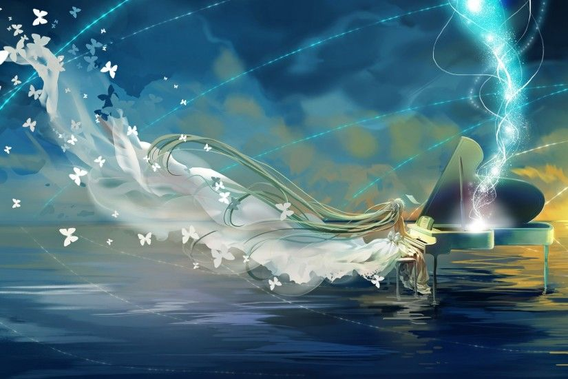 Download Wallpaper 1920x1080 Vocaloid, Hatsune miku, Piano, Sky, Butterfly  Full HD 1080p