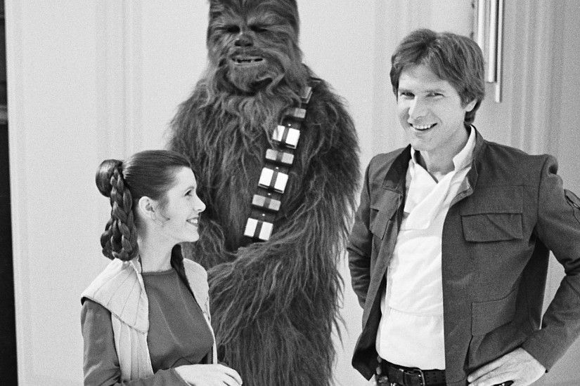 Star Wars Han Solo Harrison Ford Chewbacca BW Carrie Fisher Princess .