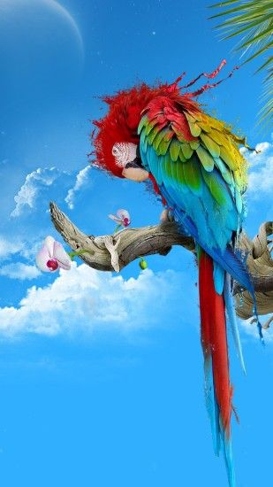 Preview wallpaper parrot, colorful, feathers, thread, sit 1080x1920
