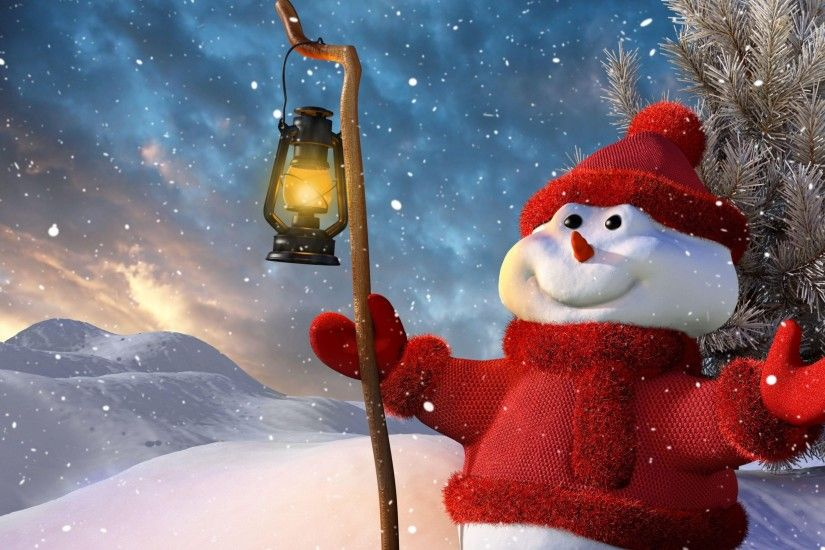 3840x2160 Wallpaper new year, christmas, snowman, lamp, tree, snow, smiling