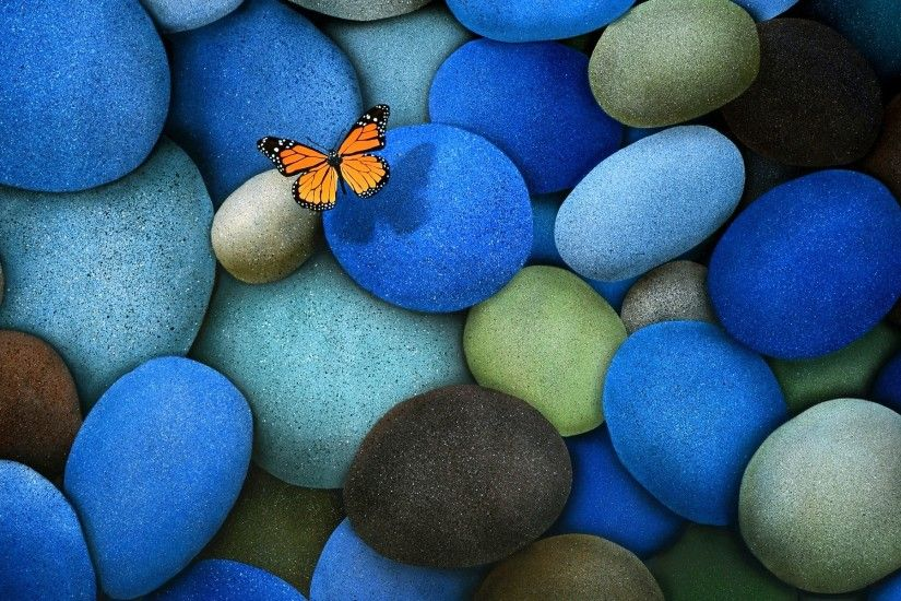 Colorful stones and beautiful butterfly wallpapers