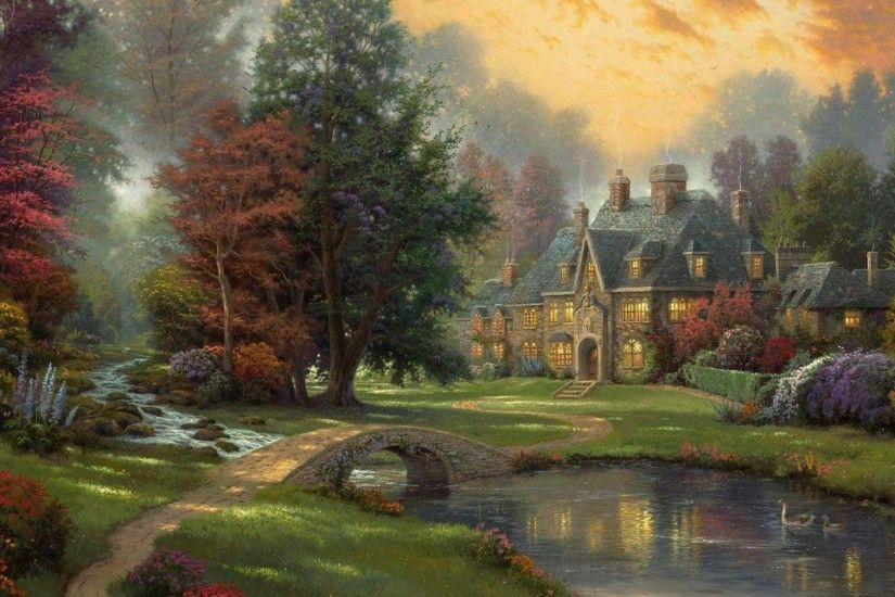 Thomas, Kinkade, Autumn, Wallpaper, High, Quality, Desktop Wallpapers, Hd