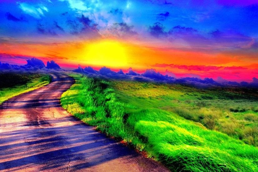 Wallpaper surreal coloful landscape 1920 x 1080 full hd