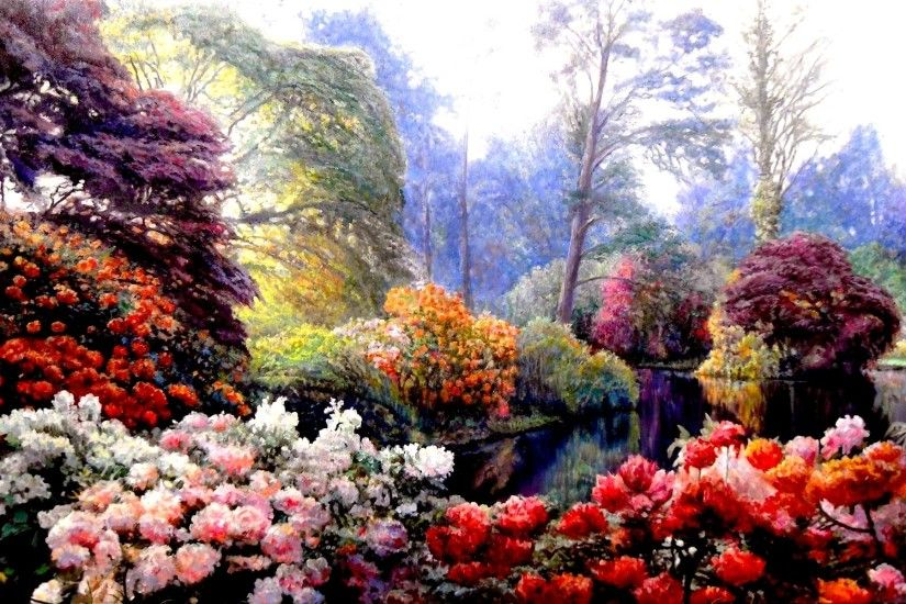 Artistic - Painting Artistic Spring Garden Flower Colorful Wallpaper