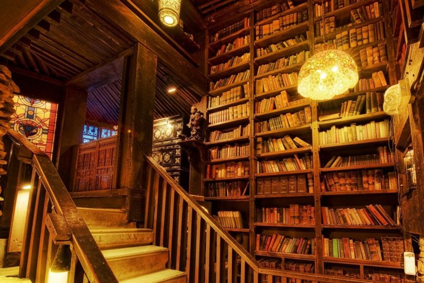 1920x1080 Wallpaper lamps, books, library