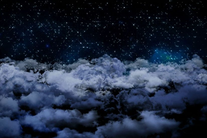 Seamless 3d animation of aerial view of cloudy night sky with clouds and  star light falling with camera moving in night scene skyscape background in  4k loop ...
