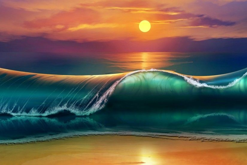 1920x1080 Wallpaper art, sunset, beach, sea, waves