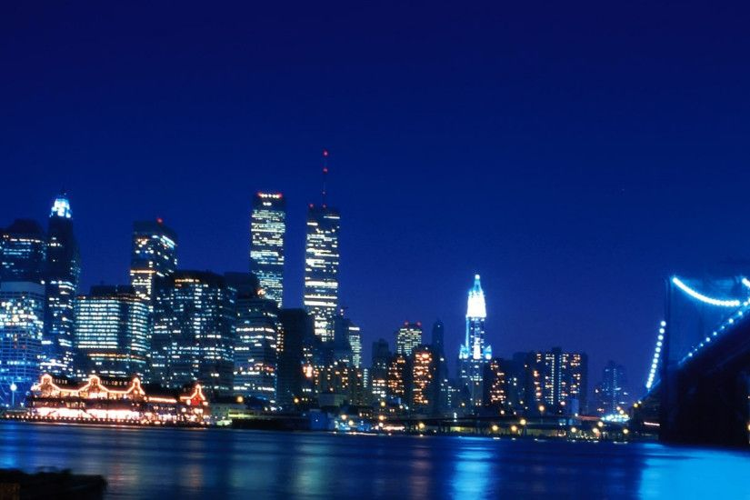 2560x1080 Wallpaper twin towers, new york, world trade center, skyscrapers,  river,