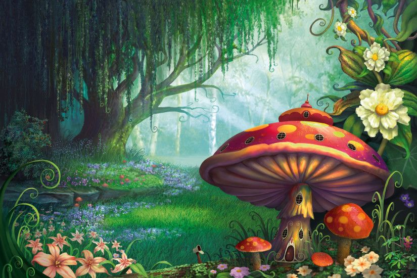 Artistic - Fantasy Artistic House Mushroom Forest Flower Tree Spring  Wallpaper