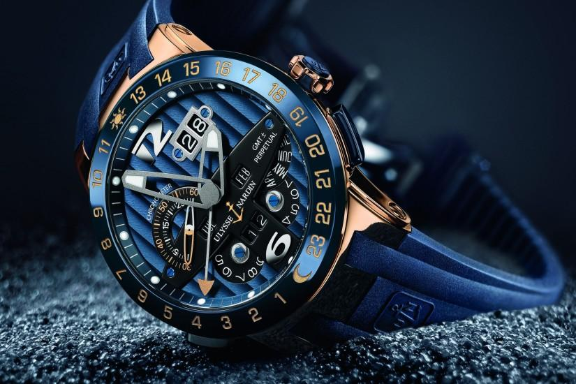 Blue stylish watch Ulysse Nardin