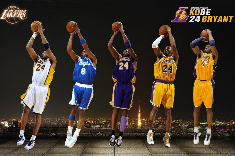 Cool Kobe wallpaper I found of him shooting a jumper in 5 different Lakers  jerseys.
