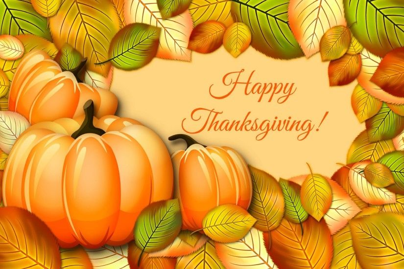 Happy Thanksgiving Leaves Autumn Fall 3d Cg wallpaper #