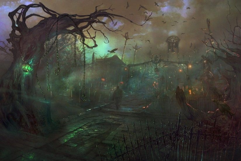 Woodland Cemetery by Lars Grant-West | Setting - Fantasy | Pinterest |  Cemetery, Mtg art and Environment design