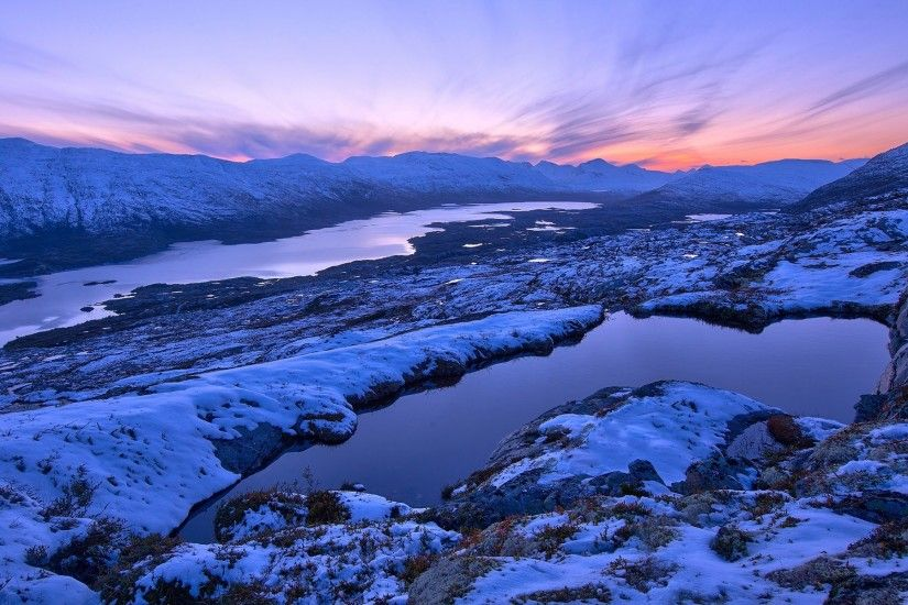 Norway winter scenery, mountains, sunset, snow wallpaper 1920x1200