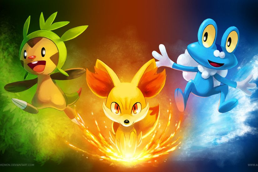 ... [Wallpaper] Pokemon X/Y Starters by arkeis-pokemon
