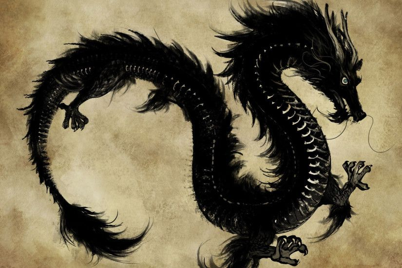 Chinese Dark Dragon Wallpaper