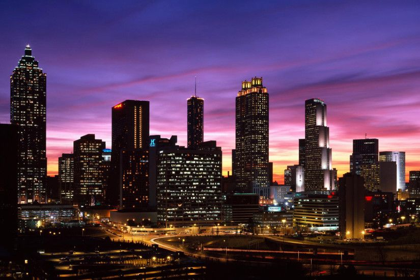 Atlanta Georgia downtown skyline dusk