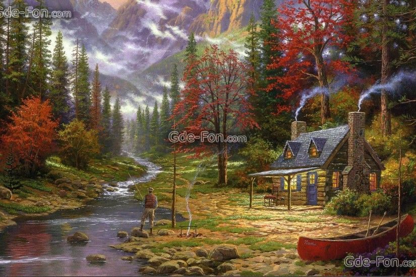 Download wallpaper painting, Thomas Kinkade, Mountains, river free .