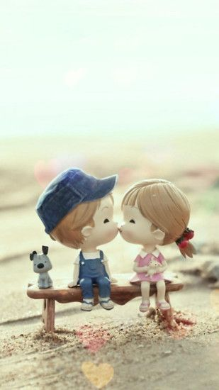 Cute Cartoon Kissing Couple iPhone 6 Wallpaper Download | iPhone