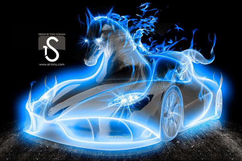 hd pics photos attractive blue neon car horse blue fire hd quality desktop  background wallpaper