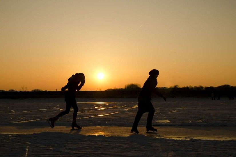Sunset Ice Skating HD Wallpaper » FullHDWpp - Full HD .